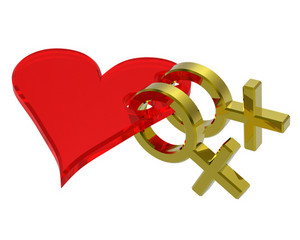 Two Gold Female Sex Symbol With Heart.