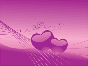 Two Gradient Heart On Purple Wavy Background