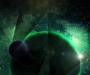 Two Green Planets Cosmic Background