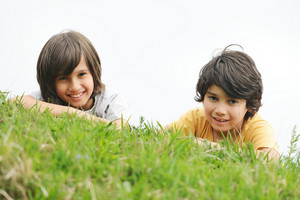 Two happy little boys lying on green grass ground