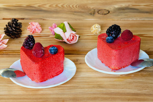 Two heart shaped cakes