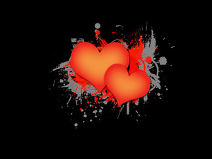 Two Hearts On Dark Grunge Background
