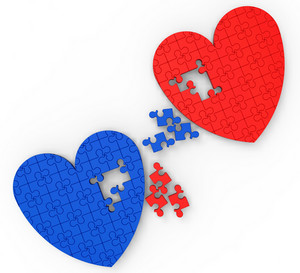 Two Hearts Puzzle Shows Engagement And Wedding
