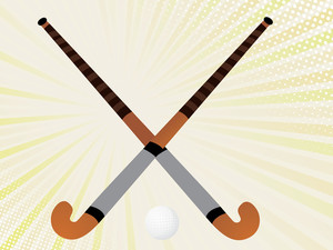 Two Hockey Sticks Crossed And A Ball