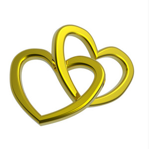 Two Joined Gold Hearts On White Background