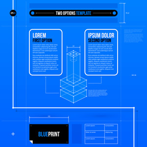 Two Options Layout In Blueprint Style With Abstract Isometric Object. Eps10