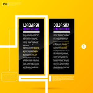Two Options Template On Bright Yellow Background In Modern Corporate Style. Eps10