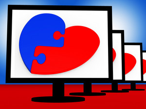 Two-pieced Heart On Monitors Shows Romantic Complement