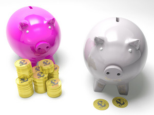 Two Piggybanks Savings Show Britain Banking Accounts