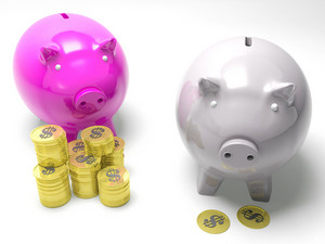 Two Piggybanks Savings Shows American Savings