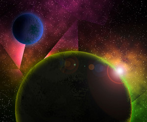 Two Planets Cosmic Abstract Background
