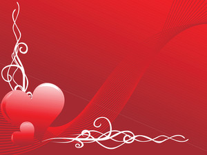 Two Red Heart With White Swirl Elements On Wavy Background