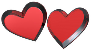 Two Red Hearts Isolated On White.
