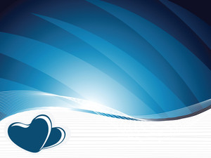 Two Romantic Heart With Waves Elements In Blue