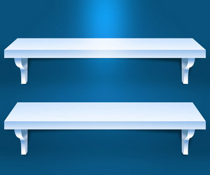 Two Shelves Blue Background