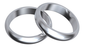 Two Silver Wedding Rings Isolated On White.