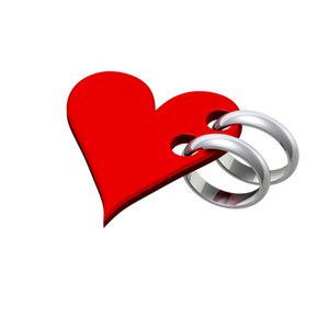 Two Silver Wedding Rings With Red Heart.