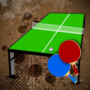 Two Table Tennis Or Ping Pong Rackets And Balls On A Blue Table With Net, Shallow Dof