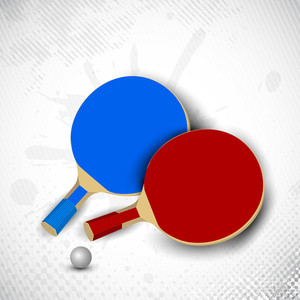 Two Table Tennis Rackets Or Ping Pong Rackets And Ball On Grungy Dotted Background In Grey Color.