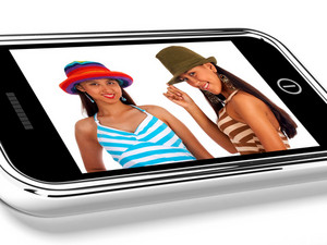 Two Teenage Friends In Hats Picture On Smartphone