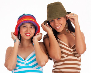 Two Teenage Girls In Hats