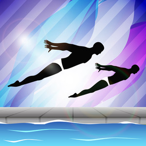 Two Young Man Swimmer Syncronizing In Swimming Pool On Beautiful Colorful Water Background.