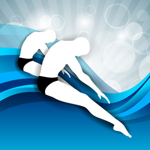 Two Young Mans Doing Wonderful Synchronized Swimming In Pool With Abstract Shiny Design In Water Background