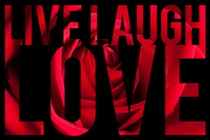 Typographic montage of the words Live Laugh Love with rose petal macro texture.