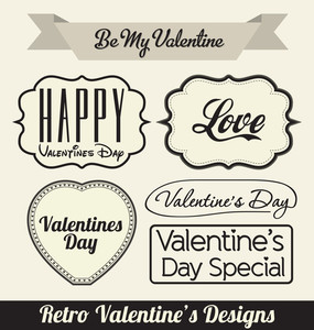 Typographic Retro Valentines Designs