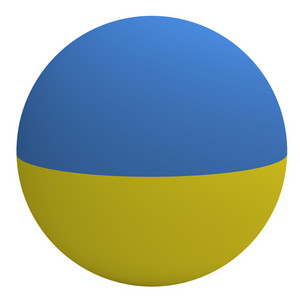 Ukraine Flag On The Ball Isolated On White.