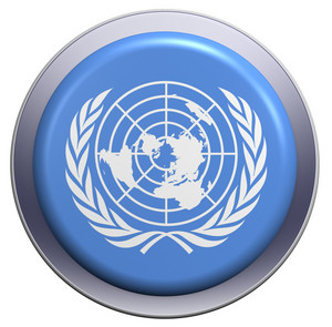 Un Flag On The Round Button Isolated On White.