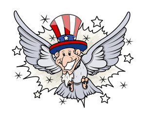 Uncle Sam As A Bird 4th Of July Vector