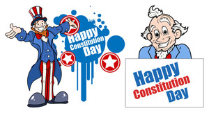 Uncle Sam Cartoon  Constitution Day Vector Illustration