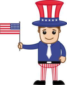Uncle Sam Costume On 4th Of July - Cartoon Business Characters