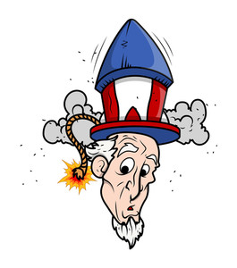 Uncle Sam Funny Cartoon Portrait With Fireworks