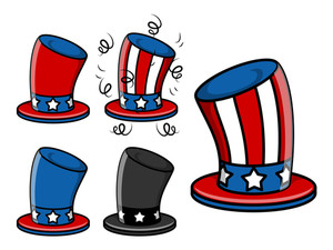 Uncle Sam Hat Set 4th Of July Vector Illustration