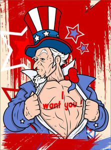 Uncle Sam I Want You  4th Of July Vector Theme Design