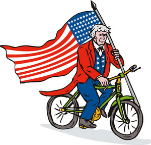 Uncle Sam Riding Bike