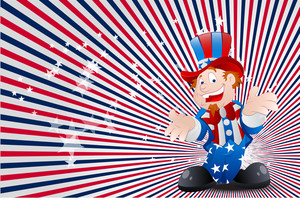Uncle Sam Sunburst Background