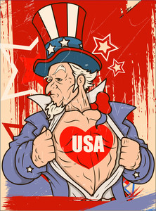 Uncle Sam Usa Love Vector Portrait