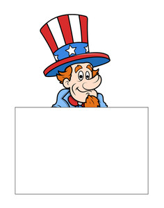Uncle Sam With Banner Independence Day Message Vector