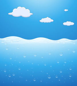 Underwater Scene And Clouds In Sky - Vector Background
