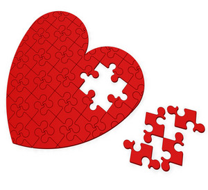 Unfinished Heart Puzzle Shows Valentine's Day
