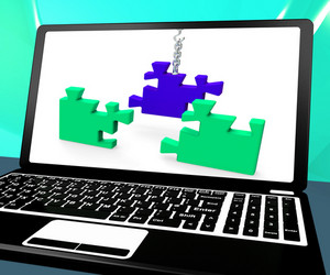 Unfinished Puzzle On Laptop Shows Creativity And Connections