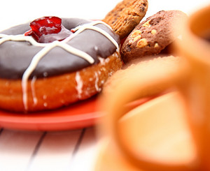 Unhealthy Diet Of Cookies, Donut And Sweet Coffee