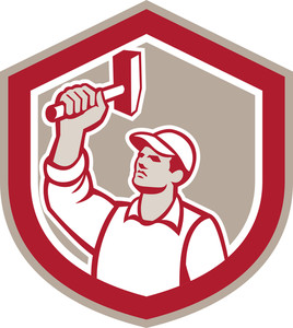 Union Worker Wielding Hammer Shield Retro