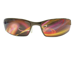 Unisex isolated sunglasses with fractal light trails in the lenses.  Clipping path included for the lens area to add your own image.