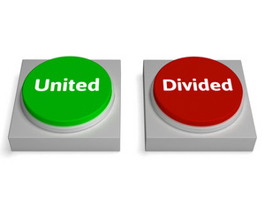 United Divided Buttons Show Unite Or Divide