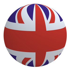 United Kingdom Flag On The Ball Isolated On White.