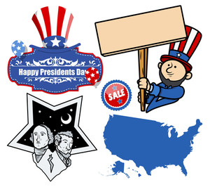 United States Holidays Presidents Day Vector Set